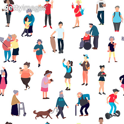 Seamless pattern with cartoon people walking on street. Crowd of male and female tiny characters. Colorful vector seamless pattern in trandy flat style for wallpaper, fabric print.