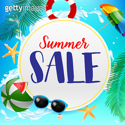 Summer sale titile on white circle 002