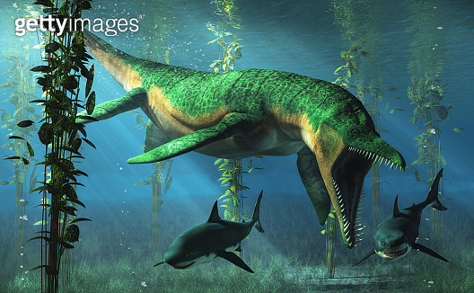 Liopleurodon Chasing Sharks