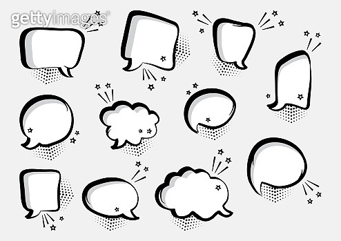 Set of empty comic speech bubbles different shapes with stars. Comic sound effects in pop art style. Vector illustration