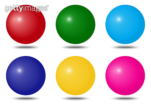 Set of colorful spheres with shadow. Vector illustration