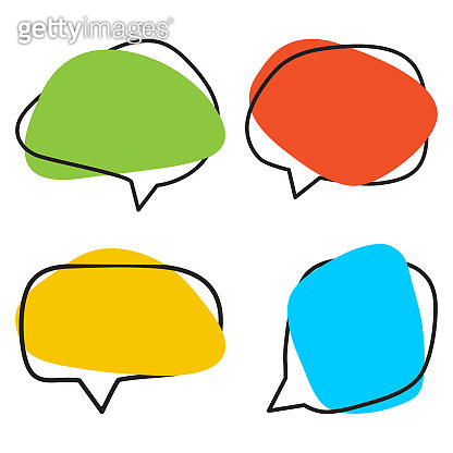 Set of colorful speech bubble shaped banners. Vector illustration