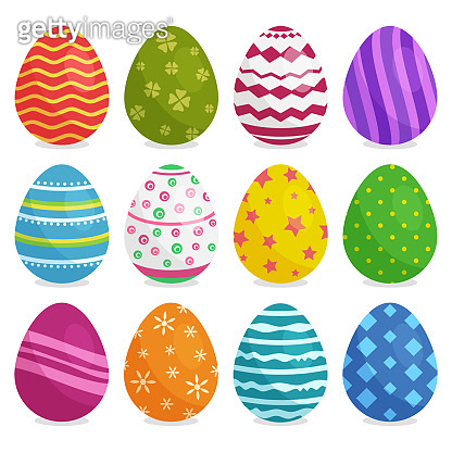 Colorful collection of Easter eggs with shadow. Vector illustration