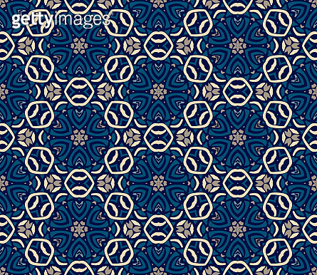Abstract seamless ornamental tile pattern for fabric