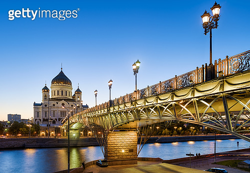 Patriarshy Bridge and Cathedral of Christ the Savior in evening, Moscow, Russia