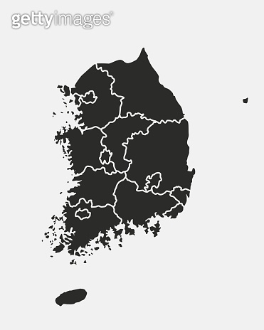 South Korea map. Blank map of South Korea with regions. South Korea background. Vector illustration