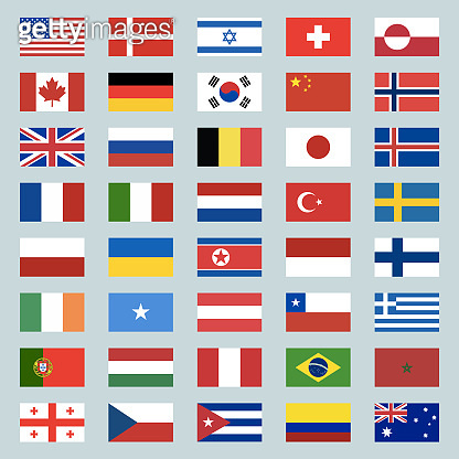 Set of 40 world flags icons. USA, Portugal, Israel, Switzerland, Canada, Germany, South Korea, China, Great Britain, Russia, Brazil, Japan, France, Italy, Netherlands, Turkey. Illustration