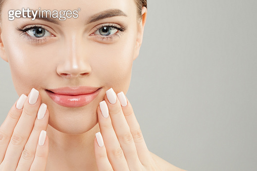Closeup portrait of beautiful woman with manicured nails. Manicure concept