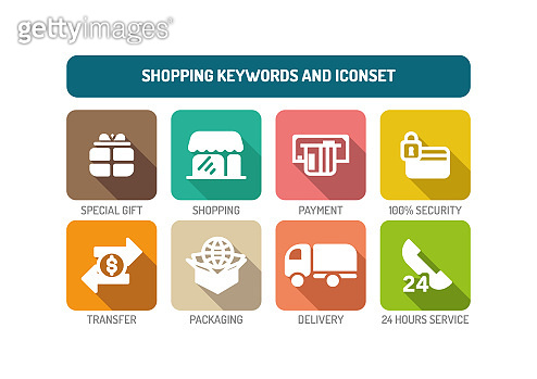 Shopping Keywords And Icon Set Concept