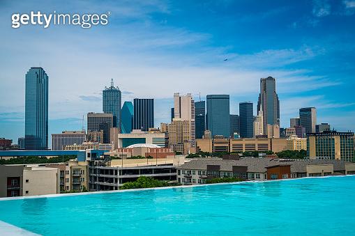 Dallas Texas Swimming pool reflection Skyline Cityscape 2019