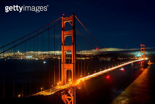 Night long exposure time lapse Golden Gate Bridge Sunset over San Francisco California