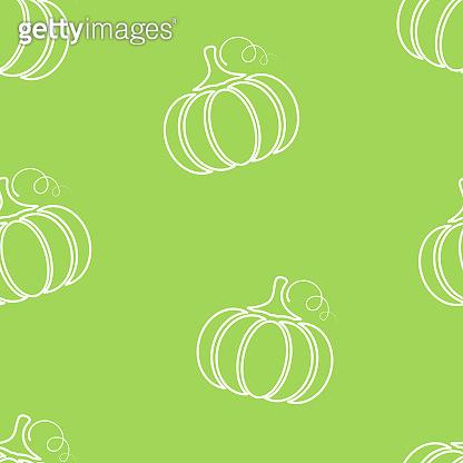 Pumpkin silhouette vegetable seamless pattern