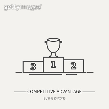 Competitive advantage - business icon in flat thin line style. Graphic design elements for ad, apps, website,packaging, poster or brochure. Vector illustration.