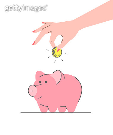 Donation concept with cute pink piggy bank