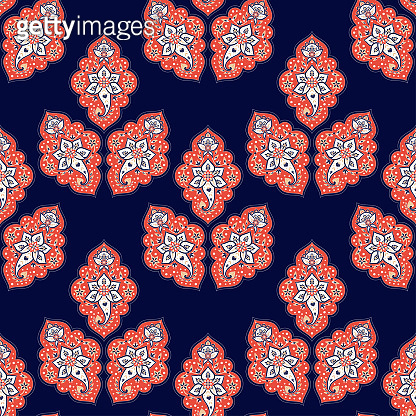 Indian paisley pattern vector seamless. Floral damask arabesque ornament. Batik Indonesia ethnic motif print. Islamic design for wallpaper, scarf, shawl, curtain textile, blanket, upholstery fabric.