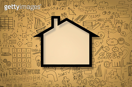 HOME CONCEPT with charts and diagrams on yellow blackboard (Click for more)