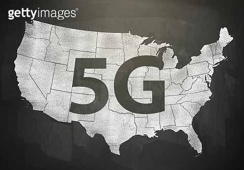5G over a amp of USA / Blackboard concept (Click for more)