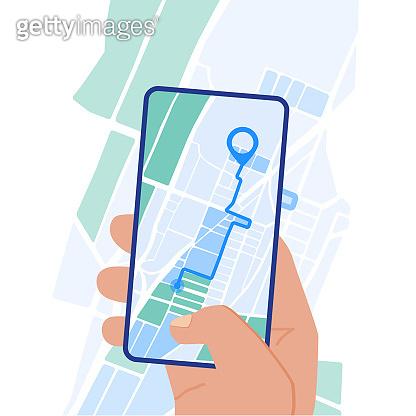 Mobile navigation app on screen flat design illustration