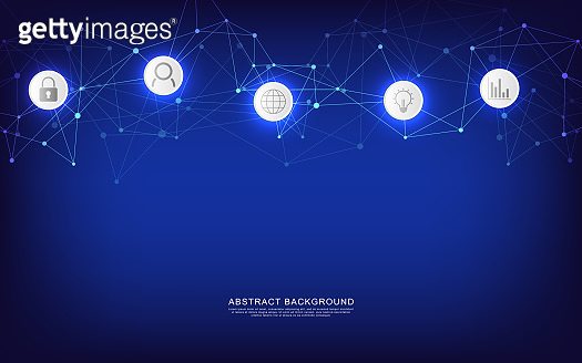 Technical abstract background with connecting dots and lines. Digital technology and communication concept with flat icons.