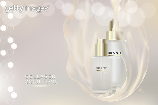 Beauty product, white cosmetic containers with advertising background ready to use, luxury skin care ad. illustration vector
