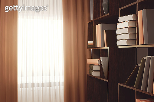 Many books on a bookshelf in the living room. Cozy interior of a lounge. 3D rendering illustration.