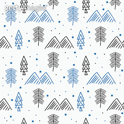 Winter hand drawn doodle seamless pattern vector illustration. Good for christmas background wallpaper and fashion textile print scandinavian style.