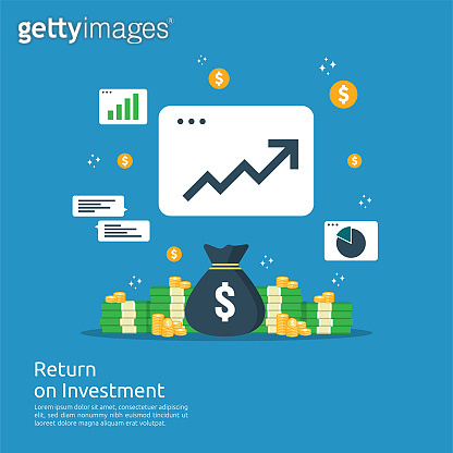 Return on investment ROI concept. business growth arrows to success. dollar stack pile coins and money bag. chart increase profit. Finance stretching rising up. banner flat style vector illustration