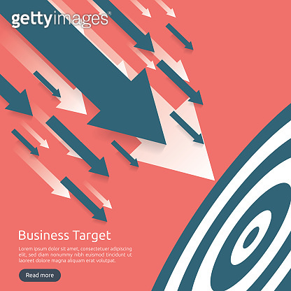 Pencil pointing to dartboard center goal. strategy achievement and success flat design. Archery dart target and arrow. Business vector concept with graph and dollar icon illustration