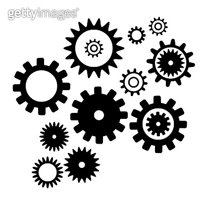 Set cogwheel silhouette pattern, isolated white color background. Abstract techno vector pattern. Collection with from different gear wheels.