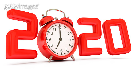 New Year 2020 with red alarm clock