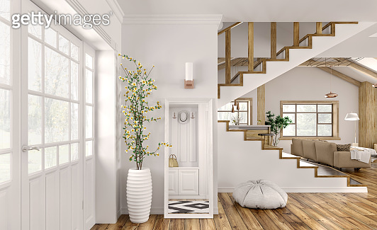 Interior of modern hall in house 3d rendering