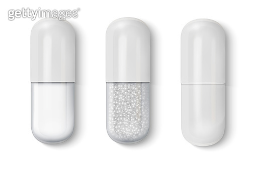 Vector 3d Realistic White and Transparent Medical Pill Icon Set Closeup Isolated on White Background. Design template of Pills, Capsules for graphics, Mockup. Medical and Healthcare Concept. Top View