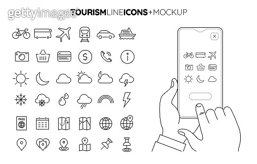 Line Travel and Tourism icon set with line hands holding smartphone mockup