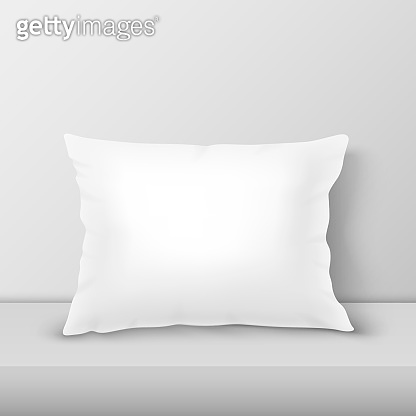 Vector Realistic 3d White Pillow Closeup on Table, Shelf Closeup on White Wall Background, Mock-up. Empty Rectangular Pillow Design Template for Mockup, Branding, Logo Print. Home Decor. Front view