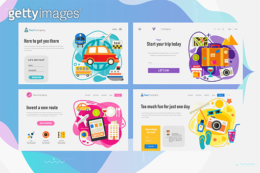 One Page Website Kit for Time For Travel Concept Banners. Vector Illustration