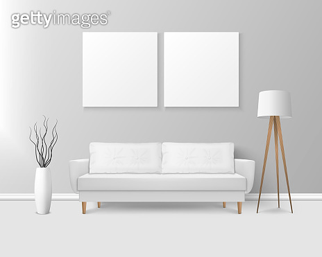 Vector 3d Realistic Render White Sofa, Couch with Pillows in Simple Style in Modern Room - Apartment, Salon, Art Gallery, Living Room, Reception, Lounge or Office Interior. White Posters On the Wall