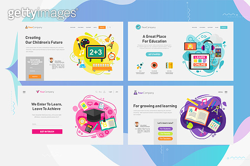 One Page Website Kit for Education and Online Learning Concept Banners. Vector Illustration