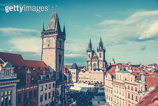 Aerial View of Old Town Square and Astronomical Clock Tower in Prague