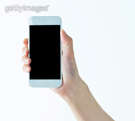Woman hand holding smart phone on white background