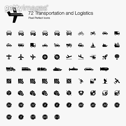 72 Transportation and Logistic Pixel Perfect Icons