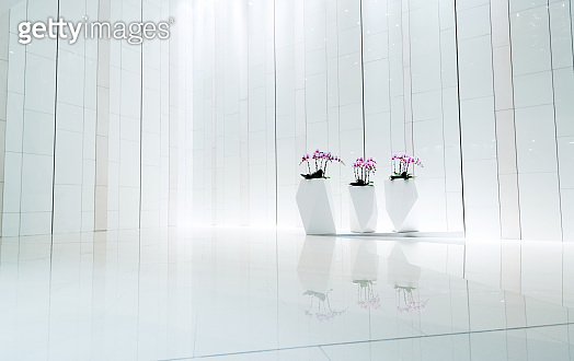 Empty white lobby in luxury hotel