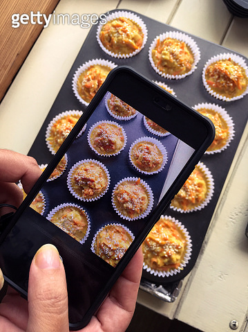 Photographing savory carrot muffins to bake