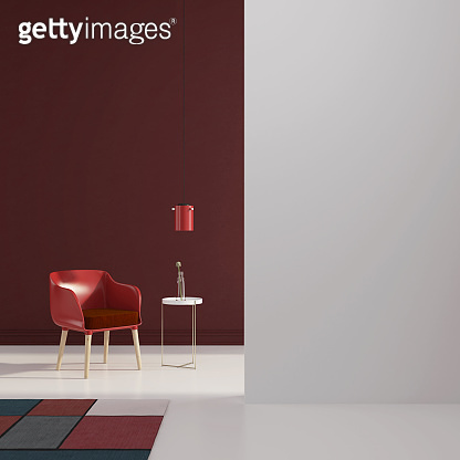 Interior with a red chair and carpet