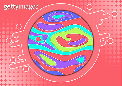 Abstract colorful background with circle and bright colored wave paper cut shapes concept.