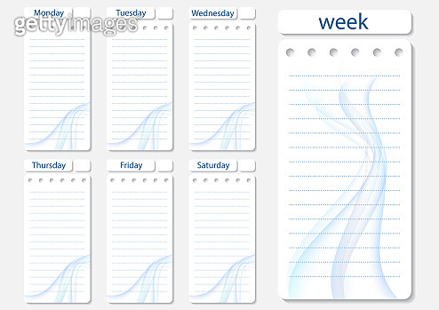 Stylish weekly, daily planner template. Organizer and schedule with notes and to-do list.