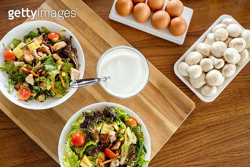 Chicken caesar salad with grilled chicken. Healthy food concept