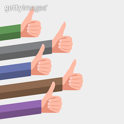 Success in social media. Hands with thumb up gestures
