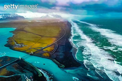Bird's-eye view Jokulsarlon Glacier Lagoon  Iceland