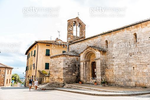 Medieval town village in Tuscany and Church of Santa Maria Assunta