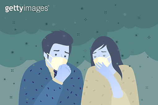 Concept of air pollution. Sad people wearing protective face masks.